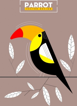 parrot background classical colored flat sketch