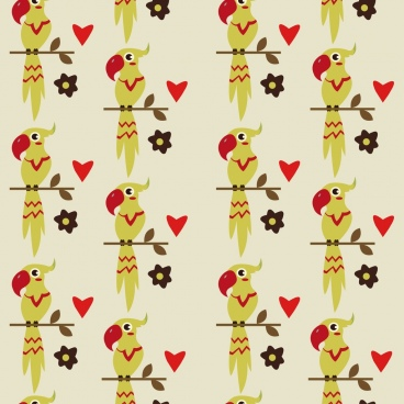 parrot background colored repeating design