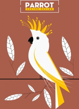 parrot background leaf ornament classical colored flat sketch