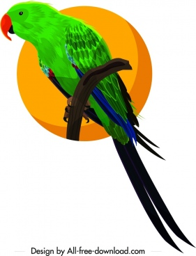 parrot icon colorful 3d design