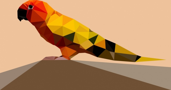 parrot icon colorful low poly design