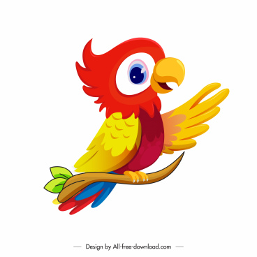 parrot icon colorful modern cartoon design