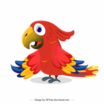 parrot icon colorful modern cute cartoon sketch