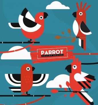 parrot icons classical flat sketch red white decor