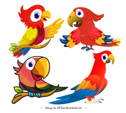 parrot icons cute cartoon sketch colorful design