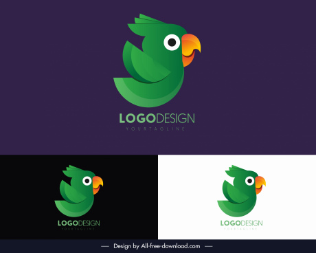 parrot logotype cute cartoon sketch