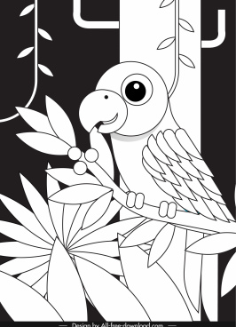 parrot painting black white flat sketch