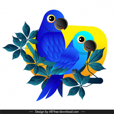 parrot painting bright modern colored design perching sketch