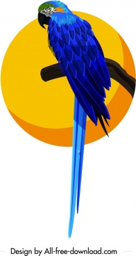 parrot painting colorful bird icon outline