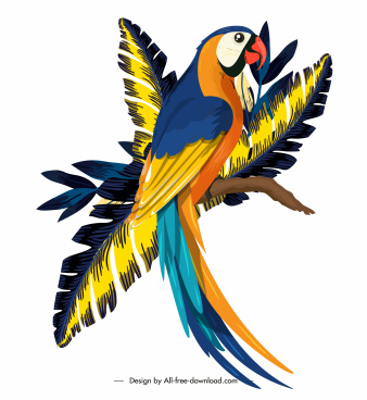parrot painting colorful classic cartoon design perching gesture