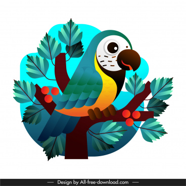 parrot painting colorful flat sketch