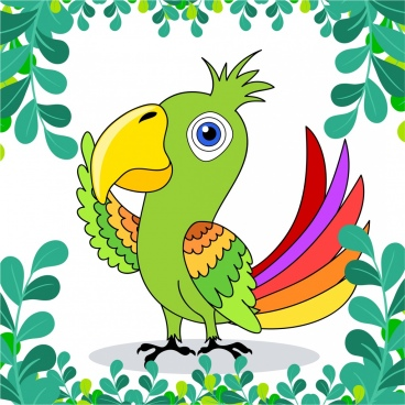 parrot painting colorful handdrawn design leaves ornament