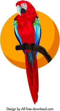 parrot painting colorful icon cartoon design