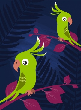 parrots background colored cartoon design