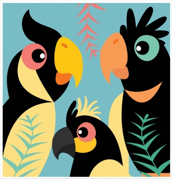 parrots family background flat colored cartoon design