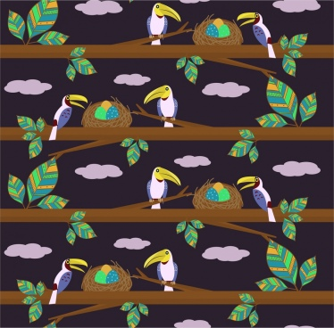 parrots nests pattern background colored repeating style