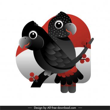 parrots painting dark black decor flat sketch