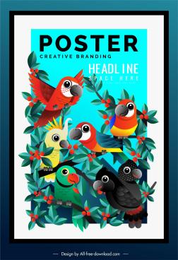parrots species poster colorful cartoon design