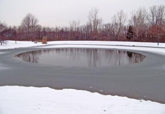 partially frozen pond