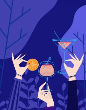 party background cheering hands cocktails icons