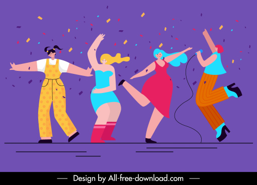 party background cheering singing people sketch colorful decor