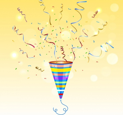 party background colorful confetti icon bokeh shiny decor