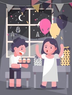 party background joyful children balloon cakes gift icons