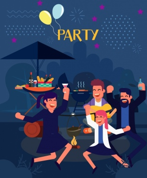 party background joyful people icon cartoon design