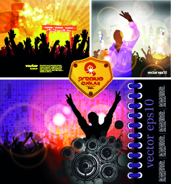 party background with people silhouettes vector
