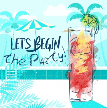 party banner cocktail icon grunge watercolor handdrawn design