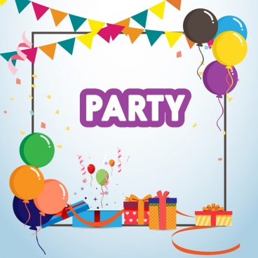 party banner colorful balloons gift boxes ribbons decor