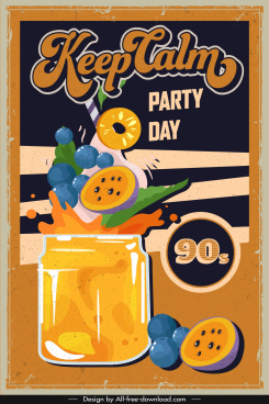party banner template dynamic retro cocktail sketch
