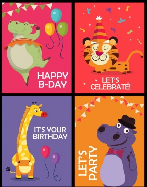 party celebration banner templates giraffe tiger hippopotamus icons