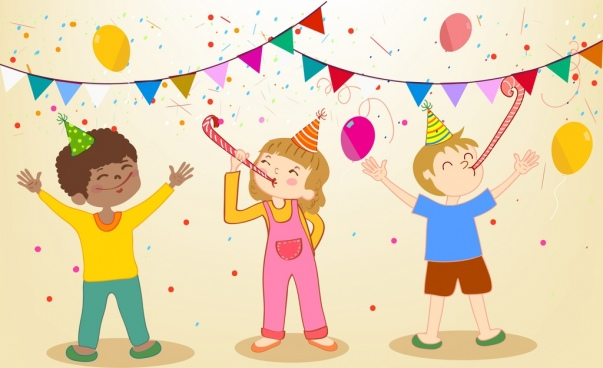 party drawing joyful kids ribbon confetti icons decor