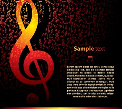 music background notes icons decor dark red orange