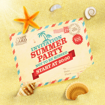 party invitation postcards vector