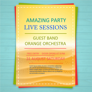 party promotion leaflet design with bright orange background