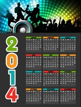 party style14 calendar vector