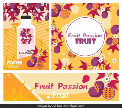 passion fruit advertising banner classical colorful decor