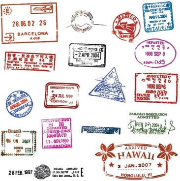passport stamp seal 01 vector