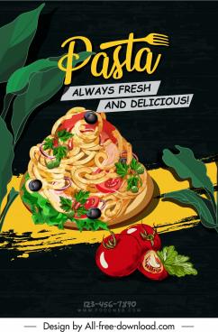 pasta advertising banner dark colorful retro handdrawn