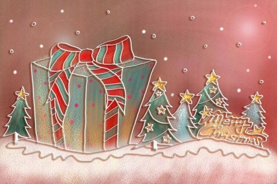 pastels handpainted christmas illustrator psd layered 3