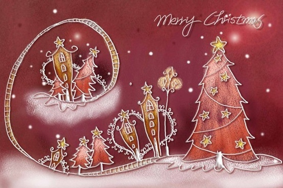 pastels handpainted christmas illustrator psd layered 7
