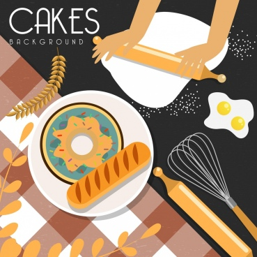pastry background bread cake ingredients utensils icons