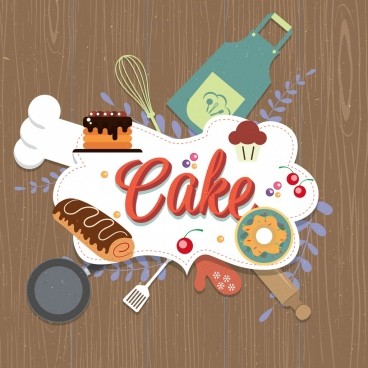 pastry background cakes kitchen utensils icons decor