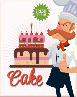 pastry banner cook birthday cake icon cartoon character