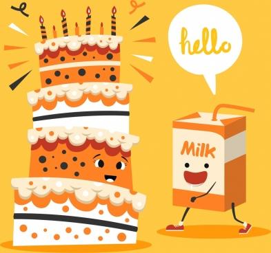 pastry banner cream cake milk box stylized icons