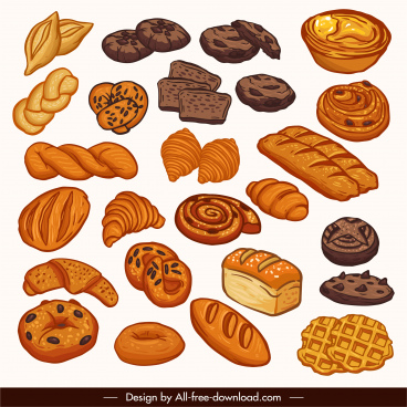 pastry design elements bread cakes sketch retro handdrawn