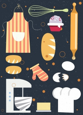 pastry design elements tools cakes icons classical design