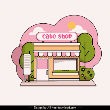 pastry shop exterior icon flat colorful classic sketch